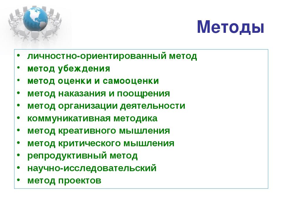 Методы личностно-ориентированный метод метод убеждения метод оценки и самооце...