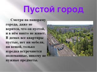 Пустой город Смотря на панораму города, даже не верится, что он пустой, и в