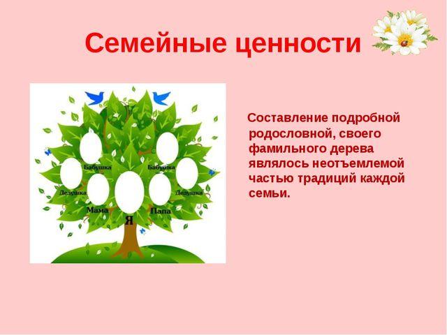 Семейные ценности Составление подробной родословной, своего фамильного дерева...