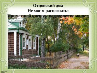 Отцовский дом Не мог я распознать: Приметный клен уж под окном не машет, © Фо