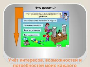 Учёт интересов, возможностей и потребностей моих каждого ребёнка Что делать?
