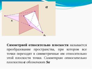 Симметрией относительно плоскости называется преобразование пространства, пр