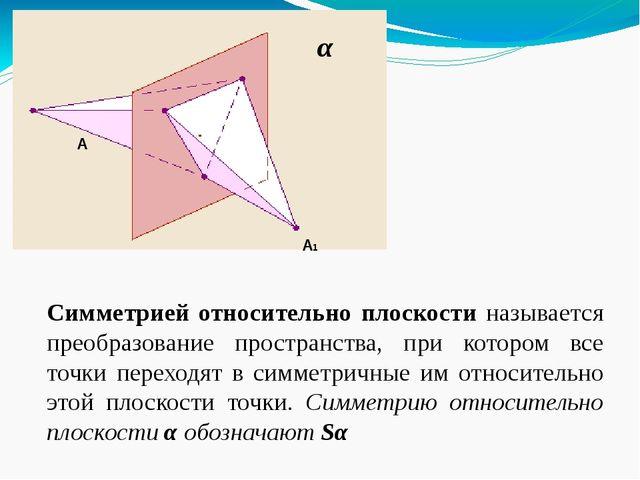 Симметрией относительно плоскости называется преобразование пространства, пр...