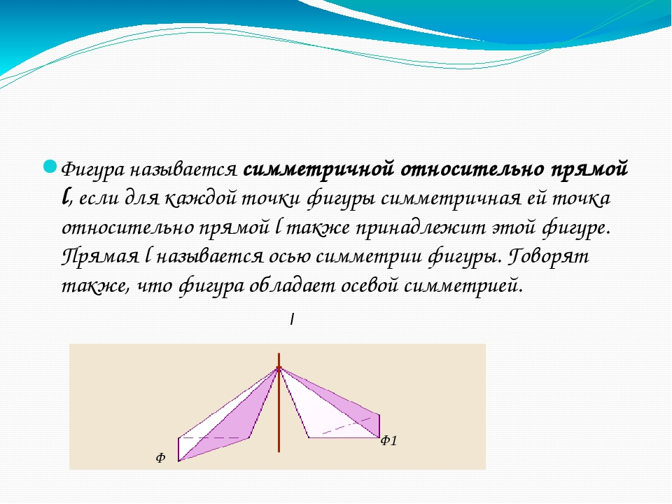 Фигура называется симметричной относительно прямой l, если для каждой точки...