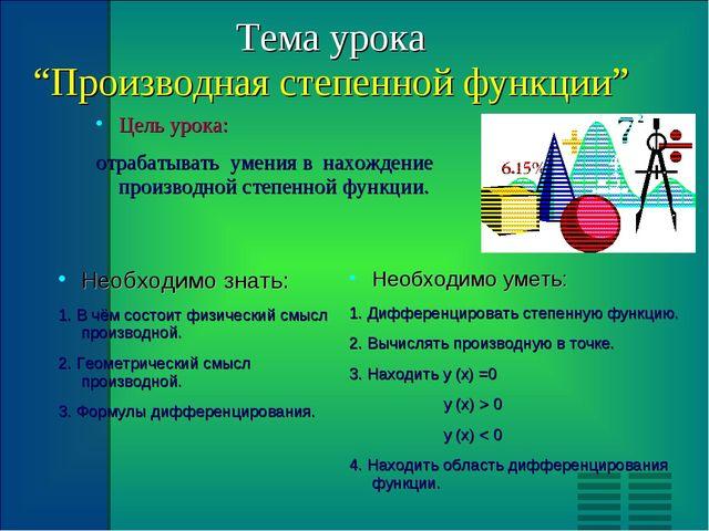 """Тема урока """"Производная степенной функции"""" Цель урока: отрабатывать умения в..."""