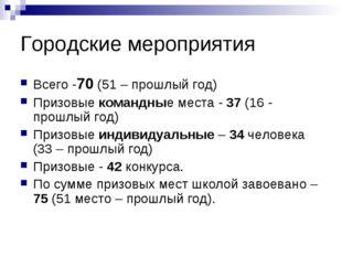Городские мероприятия Всего -70 (51 – прошлый год) Призовые командные места -