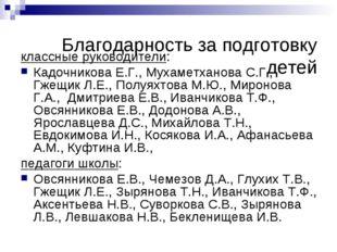 Благодарность за подготовку детей классные руководители: Кадочникова Е.Г., Му