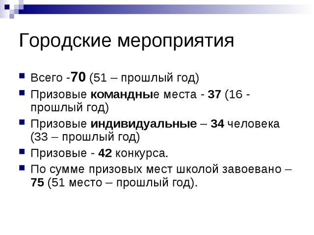Городские мероприятия Всего -70 (51 – прошлый год) Призовые командные места -...