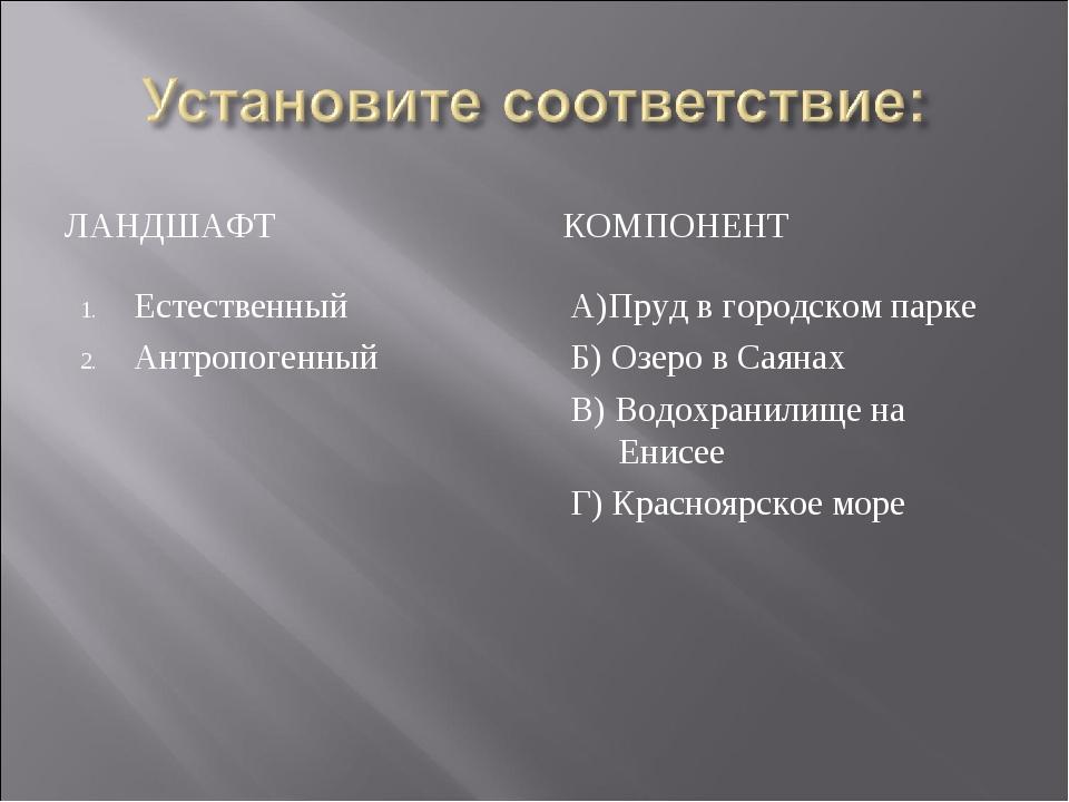 ЛАНДШАФТ КОМПОНЕНТ Естественный Антропогенный А)Пруд в городском парке Б) Озе...