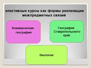 элективные курсы как формы реализации межпредметных связей Коммерческая геогр