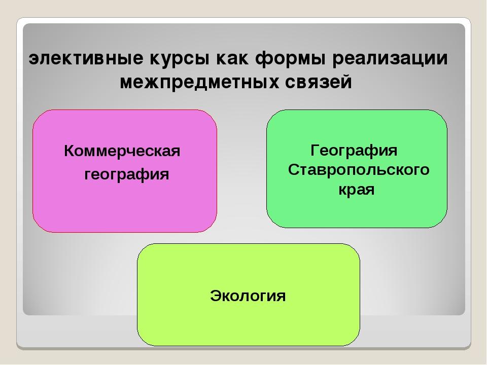 элективные курсы как формы реализации межпредметных связей Коммерческая геогр...