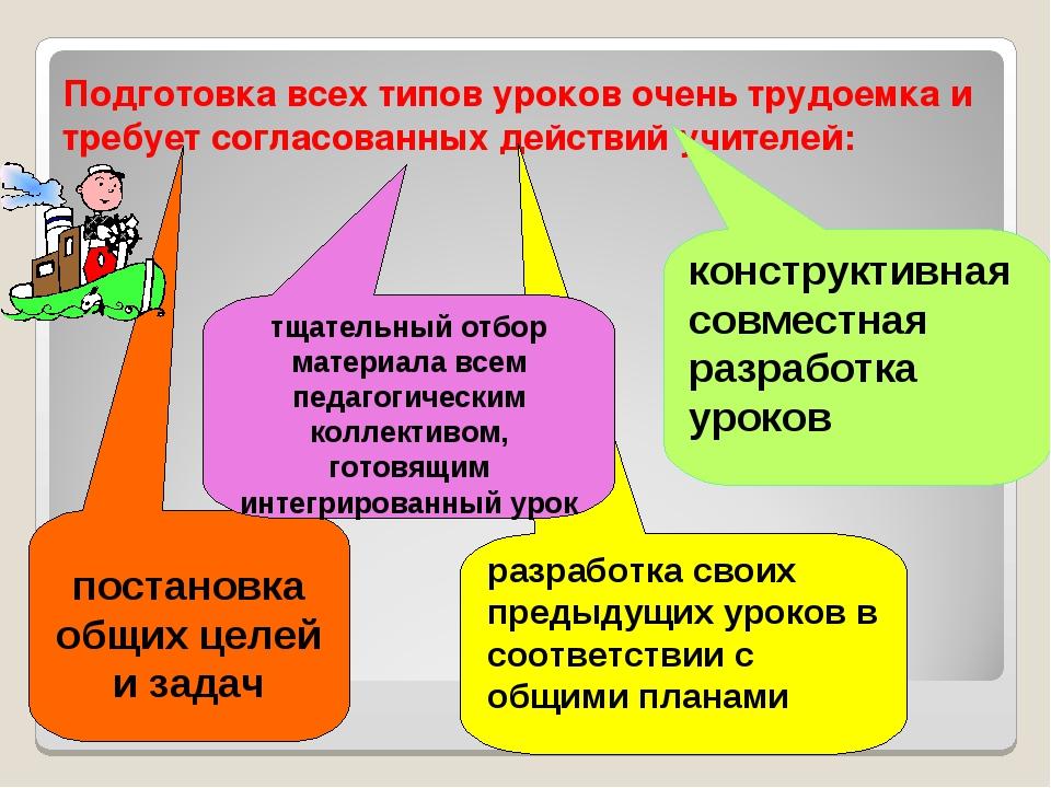 Подготовка всех типов уроков очень трудоемка и требует согласованных действий...