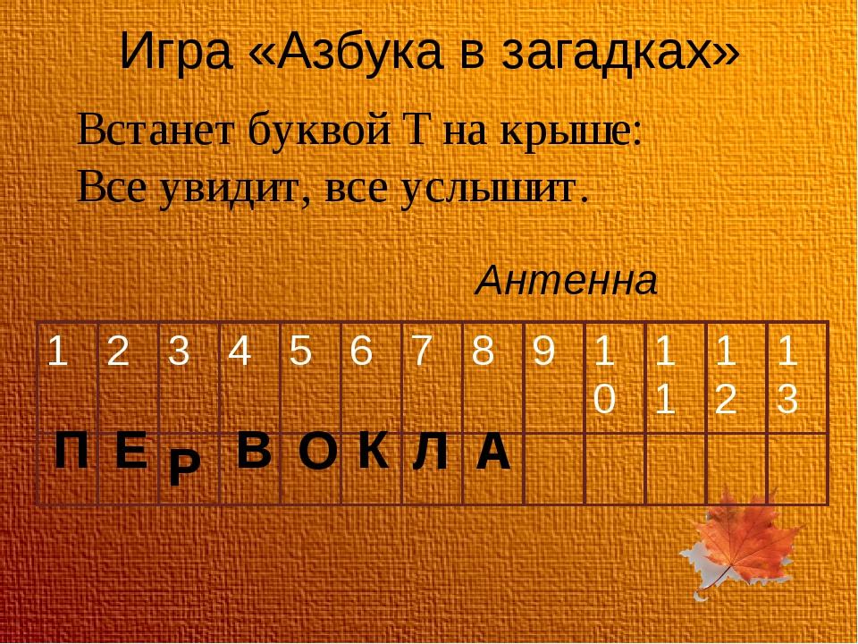 Игра «Азбука в загадках» Встанет буквой Т на крыше: Все увидит, все услышит....