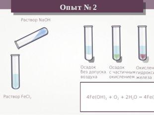 Раствор FeCl2 Раствор NaOH Осадок без допуска воздуха Опыт №2 Осадок с частич