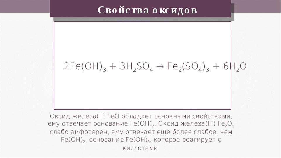Свойства оксидов Оксид железа(II) FeO обладает основными свойствами, ему отве...
