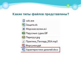 Какие типы файлов представлены?