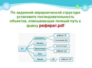 По заданной иерархической структуре установите последовательность объектов, о