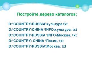 Постройте дерево каталогов: D:\COUNTRY\RUSSIA\культура.txt D:\COUNTRY\CHINA \