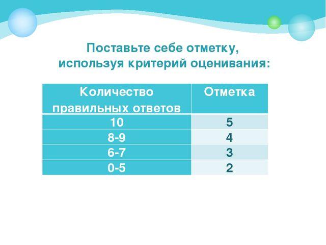 Поставьте себе отметку, используя критерий оценивания: Количество правильных...