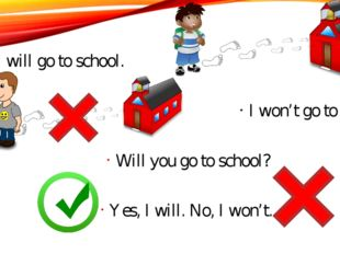 I will go to school. I won't go to school. Will you go to school? Yes, I will