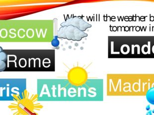 What will the weather be like tomorrow in…..? Moscow Rome Paris Madrid Athens