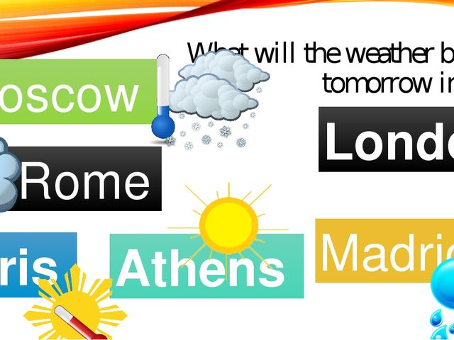 What will the weather be like tomorrow in…..? Moscow Rome Paris Madrid Athens...