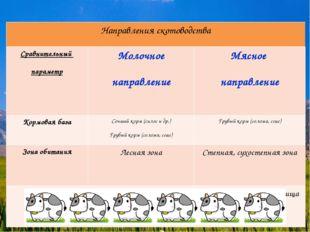 Направления скотоводства Сравнительный параметрМолочное направлениеМясное