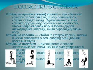 ПОЛОЖЕНИЯ В СТОЙКАХ Стойка на правом (левом) колене — при обычном способе вып