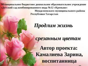 Продлим жизнь срезанным цветам Автор проекта: Камалиева Зарина, воспитанница