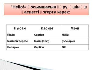 """""""Hello!« қосымшасын құру үшін үш қасиетті өзгерту керек: Нысан Қасиет Мән"""