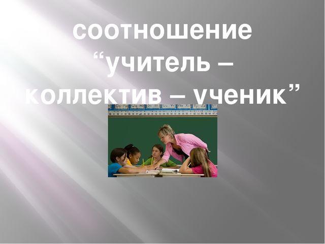 """соотношение """"учитель – коллектив – ученик"""""""