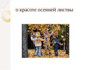 о красоте осенней листвы