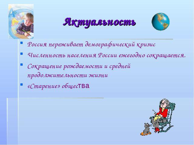 Актуальность Россия переживает демографический кризис Численность населения Р...