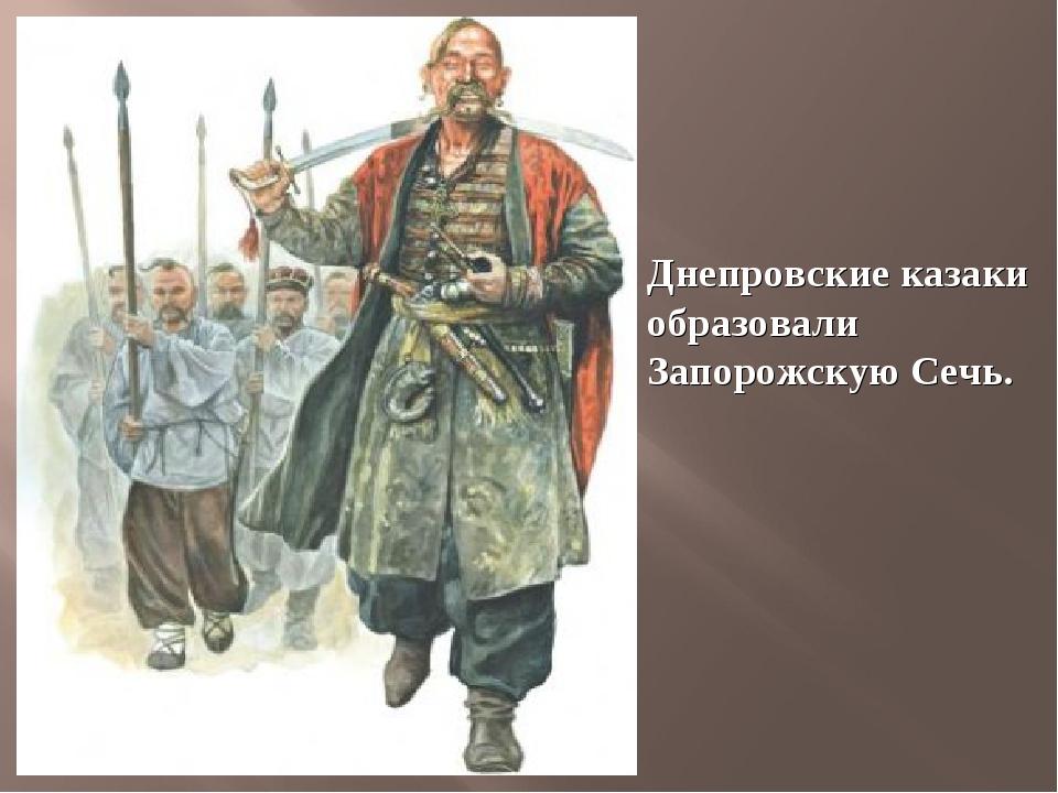 Днепровские казаки образовали Запорожскую Сечь.