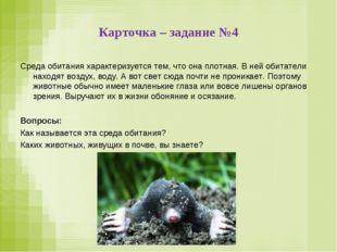 Карточка – задание №4 Среда обитания характеризуется тем, что она плотная. В