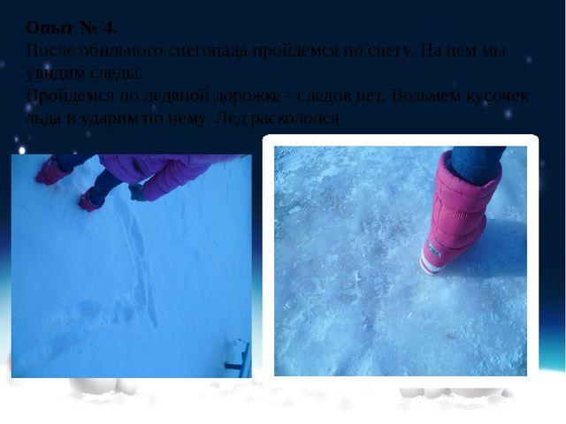 Опыт № 4. После обильного снегопада пройдемся по снегу. На нем мы увидим след...