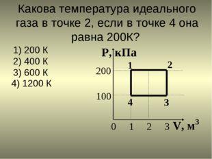 Какова температура идеального газа в точке 2, если в точке 4 она равна 200К?