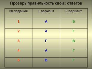 Проверь правильность своих ответов