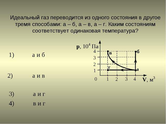 Идеальный газ переводится из одного состояния в другое тремя способами: а– б...