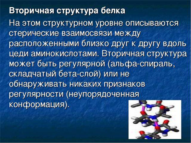 Вторичная структура белка На этом структурном уровне описываются стерические...