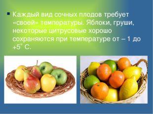 Каждый вид сочных плодов требует «своей» температуры. Яблоки, груши, некоторы