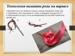 Технология вышивки розы на каркасе 4.Выведите ленту на лицевую сторону в цент