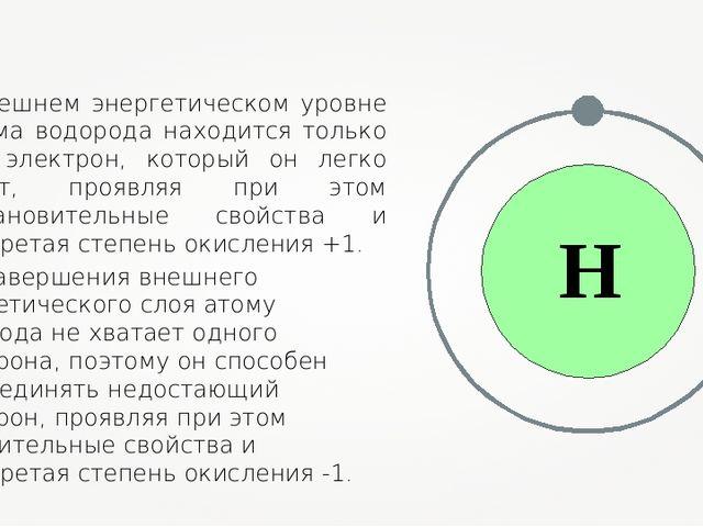 На внешнем энергетическом уровне у атома водорода находится только один элект...