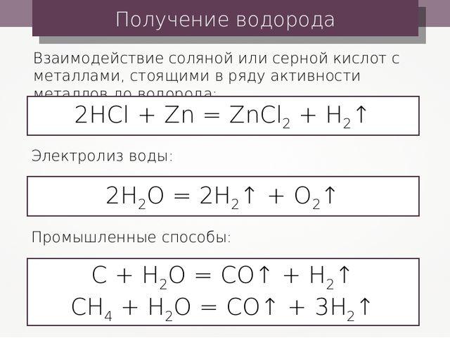 Получение водорода Взаимодействие соляной или серной кислот с металлами, стоя...