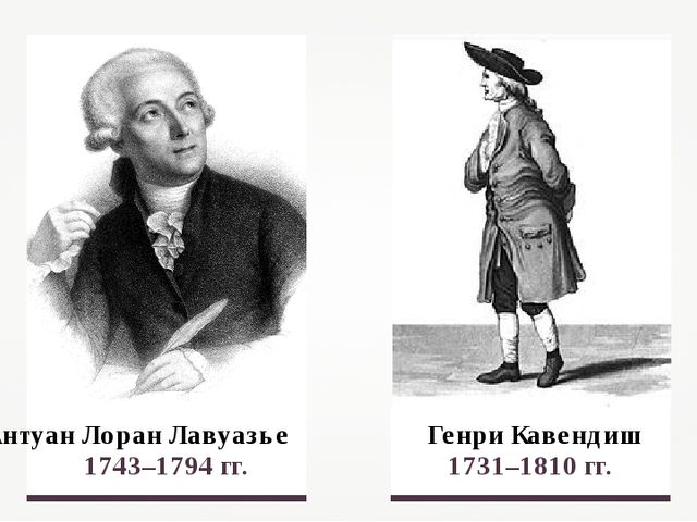 Антуан Лоран Лавуазье 1743–1794 гг. Генри Кавендиш 1731–1810 гг.