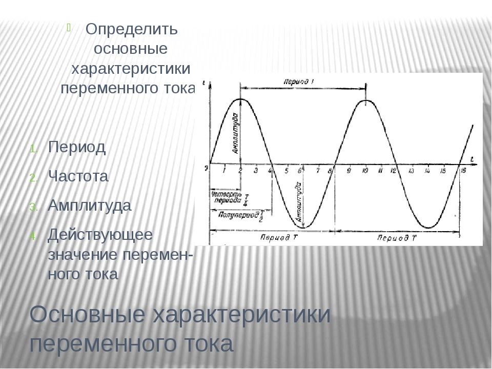 Основные характеристики переменного тока Определить основные характеристики п...