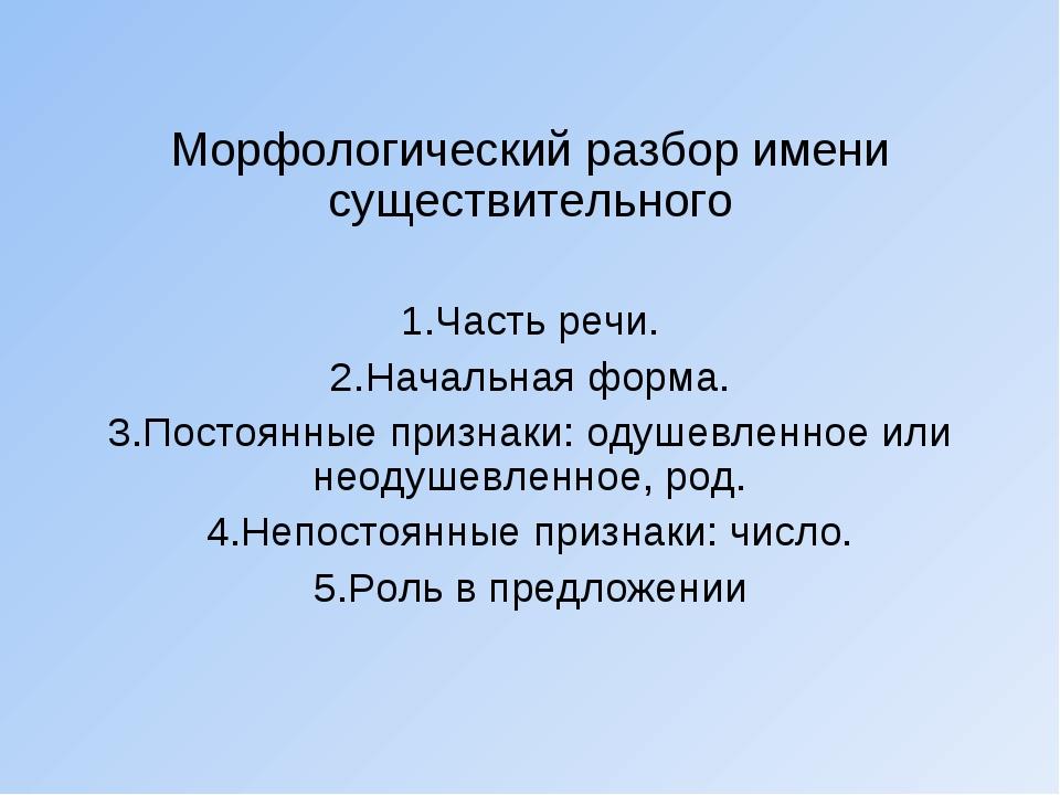 Морфологический разбор имени существительного Часть речи. Начальная форма. П...