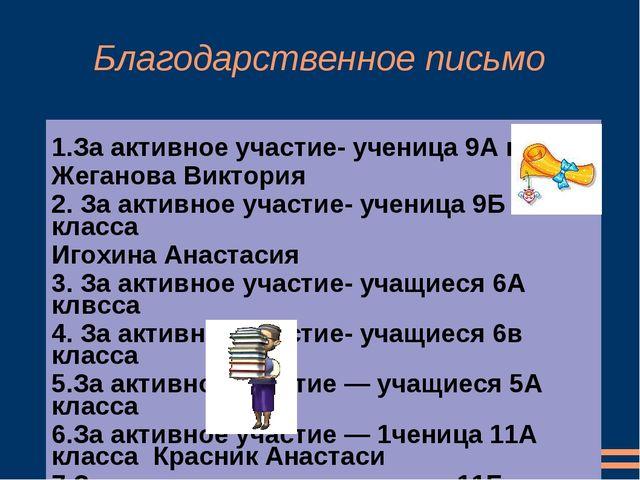 Благодарственное письмо 1.За активное участие- ученица 9А класса Жеганова Вик...