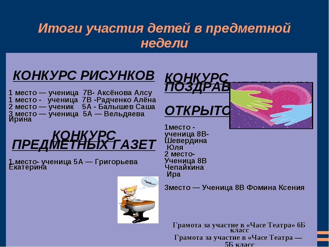 Итоги участия детей в предметной недели КОНКУРС РИСУНКОВ 1 место — ученица 7В...