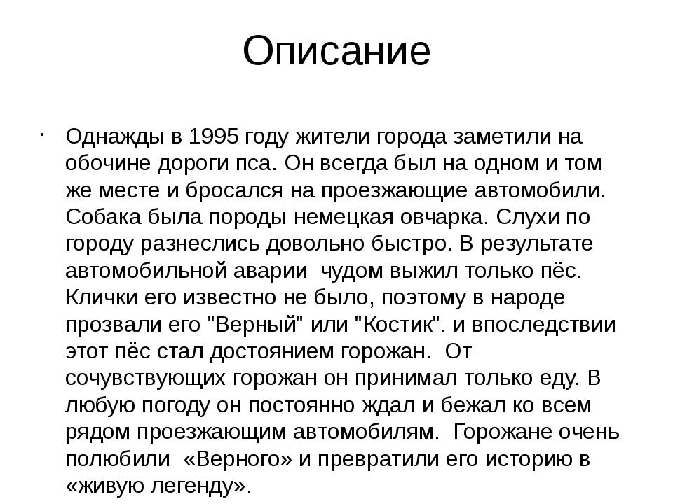 Описание Однажды в 1995 году жители города заметили на обочине дороги пса. Он...